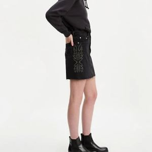 Levi's High Rise Deconstructed Skirt Black Studded